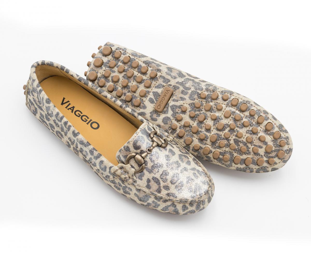 Mocassin à bride - daim léopard - femme