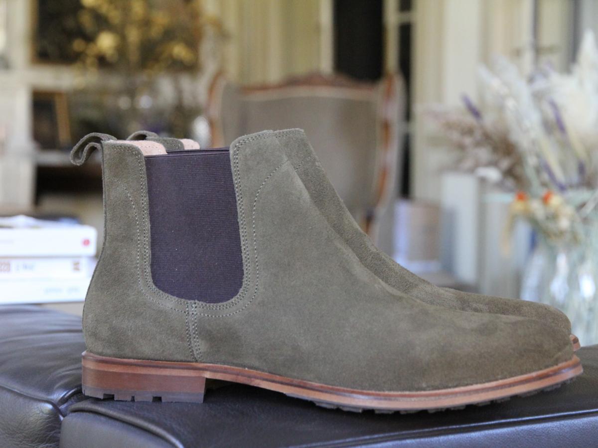Chelsea boots élastique - Daim kaki - Homme